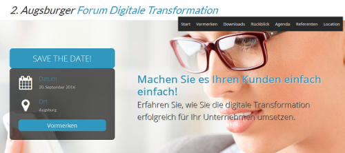 "SAVE THE DATE – ""2. Forum Digitale Transformation"" am 20.09.2016 in Augsburg"